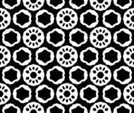 黑白抽象传染媒介背景和无缝的重复样式设计 库存例证