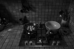 黑白法国的厨房 免版税库存图片
