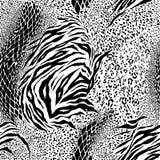 黑白混杂的动物皮毛,老虎,斑马,豹子,蛇,bac 皇族释放例证