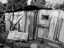 黑白照片的老被放弃的蠕动的木房子 免版税库存图片