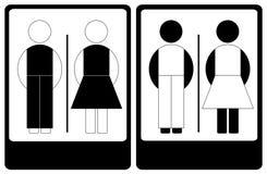 黑白男和女性符号 免版税库存照片