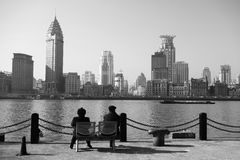 黑白的上海 免版税图库摄影