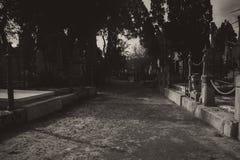 黑白的公墓 免版税库存图片