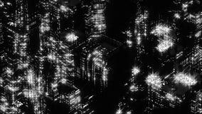 黑白的夜城市抽象夜场面  Loopable 库存例证