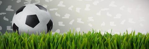 黑白皮革橄榄球的综合图象 图库摄影