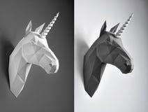 黑白纸独角兽头对比拼贴画  库存照片
