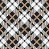 黑白织品的格子呢对角无缝的传染媒介样式方格的格子花呢披肩纹理几何简单的方形的背景, t 免版税库存图片