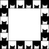 黑白色猫棋盘边界背景 也corel凹道例证向量 向量例证