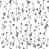 黑白花卉模式,无缝的纹理 库存图片