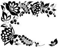 黑白花和叶子。 在减速火箭的样式的花卉设计要素 免版税库存图片