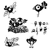 黑白装饰鸟 免版税库存图片