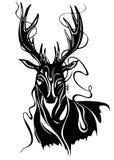 黑白鹿动物艺术的illistration 免版税库存照片