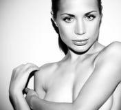 黑白glamor女性纵向 图库摄影