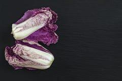 黑石表面上的两棵蓝色napa圆白菜 顶视图,拷贝sp 免版税库存图片