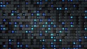 黑立方体和蓝色发光的标志抽象3D翻译 皇族释放例证
