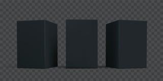 黑纸盒箱子包裹大模型集合 传染媒介被隔绝的3D黑色纸板纸包裹箱子模型模板 向量例证