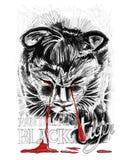 黑老虎或Panthom小狗哭泣是血液被画的铅笔冲程 免版税图库摄影