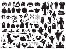 黑色万圣节现出轮廓白色 鬼的邪恶的巫婆、蠕动的严重棺材和巫术师剪影 南瓜、蜘蛛和鬼魂传染媒介 皇族释放例证