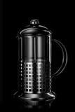 黑色不锈钢茶壶 免版税库存照片