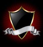 黑色丝带盾银 皇族释放例证