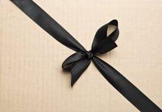 黑色丝带缎 免版税库存照片
