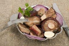 黑色乳菇属蘑菇盐溶 库存照片
