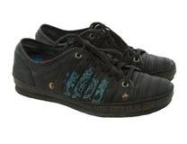 黑色偶然皮革男性鞋子 免版税库存图片