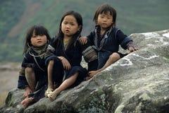黑色儿童hmong 免版税图库摄影