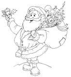 黑色克劳斯・圣诞老人白色 库存例证