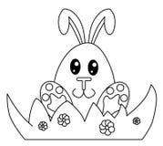 黑色兔宝宝复活节白色 免版税库存照片