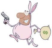 黑色兔宝宝服装强盗运行中 免版税库存照片
