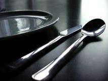 黑色刀叉餐具白色 免版税图库摄影