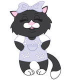 黑色动画片逗人喜爱的小猫 免版税库存照片
