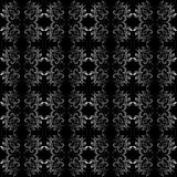 黑色华丽啪答声无缝的墙纸白色 免版税库存照片