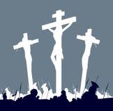 黑色受难象在十字架上钉死场面白色 库存图片