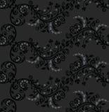 黑色叶子模式无缝的银 免版税库存照片