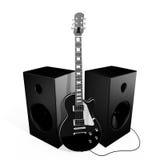黑色吉他岩石报告人 免版税图库摄影