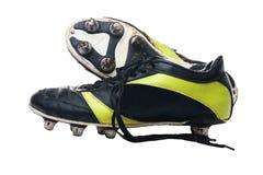 黑色启动橄榄球查出的足球 足球起动 隔绝  免版税图库摄影