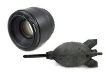 黑色吹风机照相机dslr查出透镜 免版税库存照片