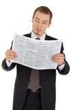 黑色商人newsp读诉讼年轻人 库存图片