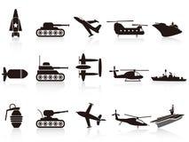 黑色图标被设置的战争武器 免版税库存照片