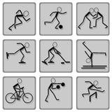黑色图标被设置的树荫体育运动 免版税库存图片