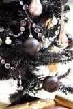 黑色圣诞树 库存图片