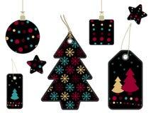 黑色圣诞节标签 库存照片