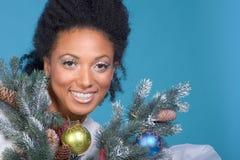 黑色圣诞节种族头发纵向妇女 免版税库存图片