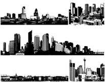 黑色城市全景向量白色 免版税库存照片