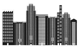 黑色城市地平线白色 免版税库存照片