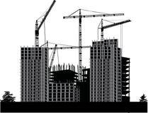 黑色大厦灰色房子 向量例证