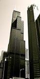 黑色大厦芝加哥白色 免版税库存图片