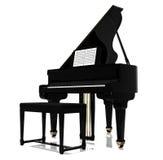 黑色大平台钢琴 免版税库存照片